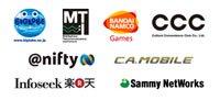 BIGLOBE, MT, BANDAI NAMCO Games, CCC, @nifty, CA.MOBILE, Infoseek 楽天, Sammy NetWorks